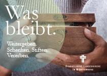 """Banner Projekt """"Was bleibt"""". Weitergeben. Schenken. Stiften. Vererben."""