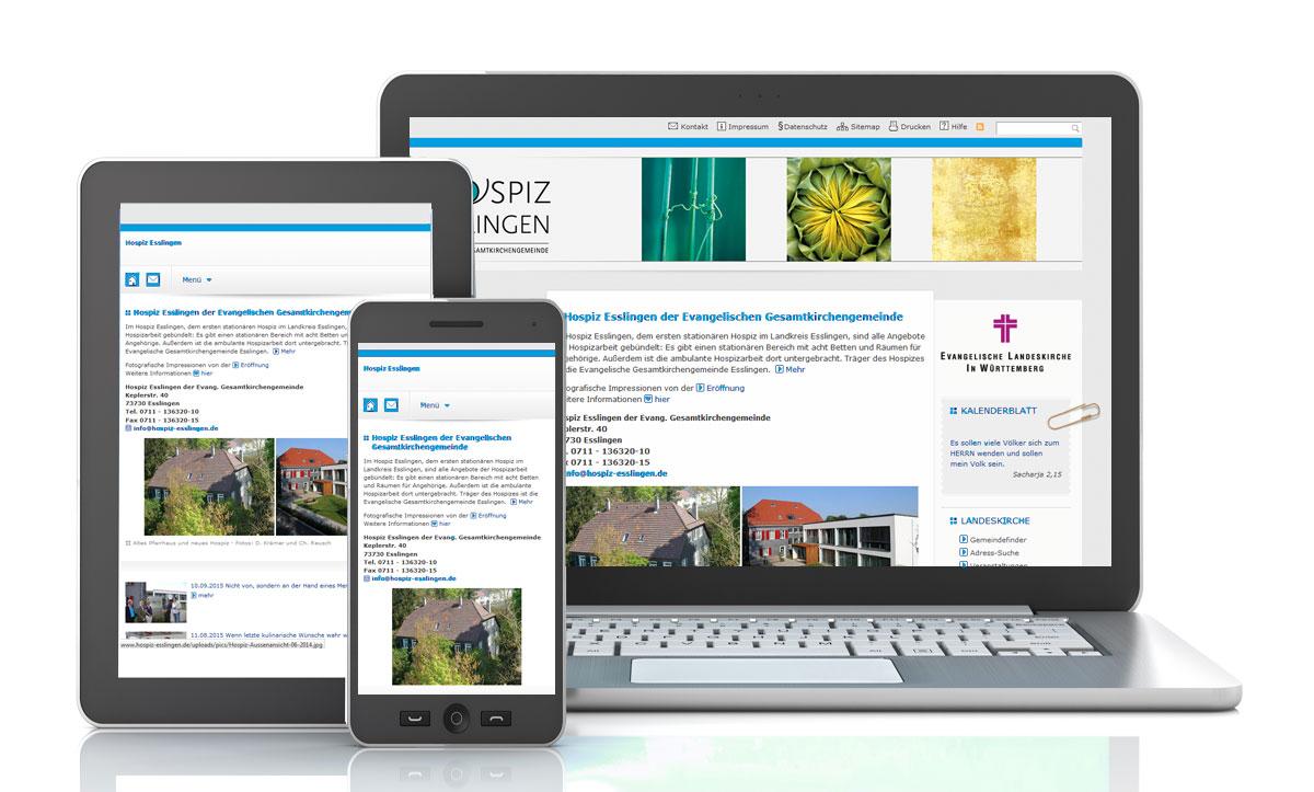 Mobiles Layout: Wenn Sie eine Website mit dem Gemeindebaukasten erstellen, passt sich Ihre Internetseite automatisch an das mobile Endgerät wie Laptop, Smartphone oder Tablet an